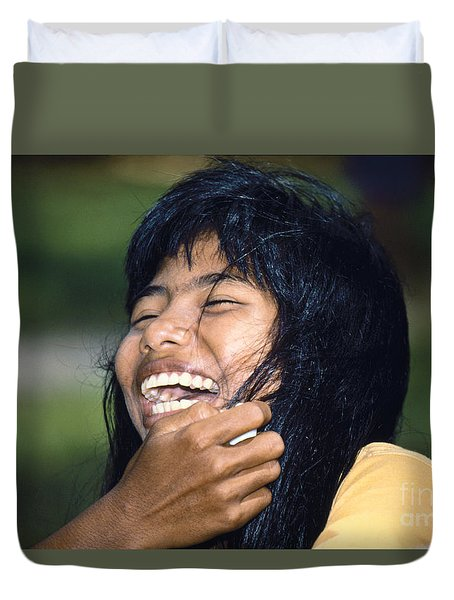 Duvet Cover featuring the photograph Laughing Out Loud by Heiko Koehrer-Wagner