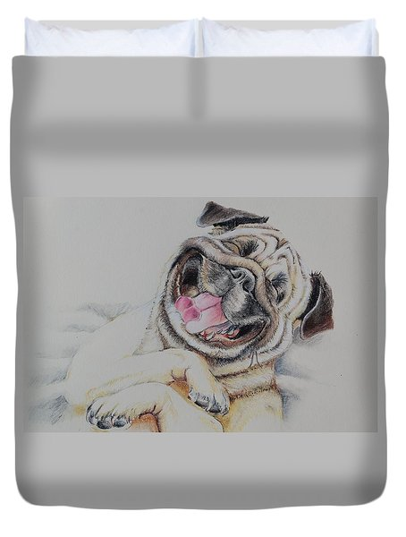 Laughing Pug Duvet Cover