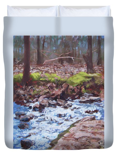 Laughing Stream In Winter Duvet Cover by Carol Strickland