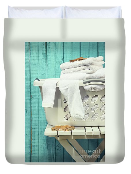 Laundry Basket With Towels Duvet Cover