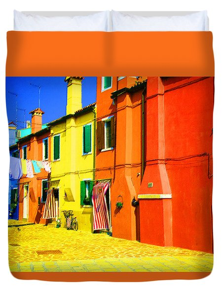 Duvet Cover featuring the photograph Laundry Between Chimneys by Donna Corless