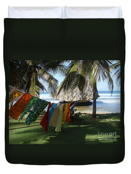 Laundry Day In Barbados Duvet Cover