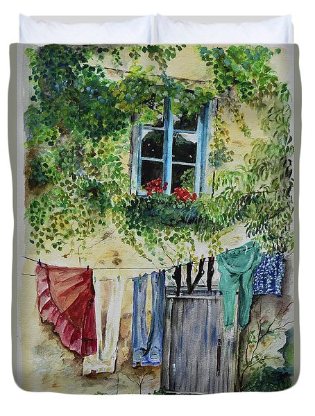 Duvet Cover featuring the painting Laundry Day In France by Jan Dappen
