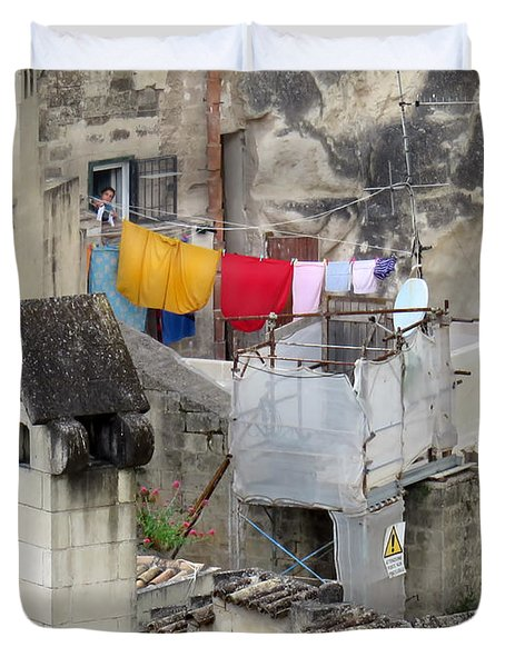 Laundry Day In Matera.italy Duvet Cover