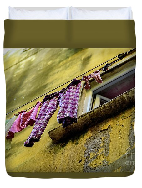 Laundry Hanging In Rovinj, Croatia Duvet Cover