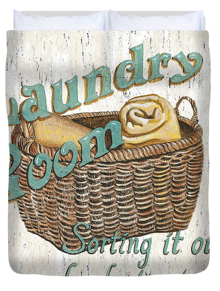 Laundry Room Sorting It Out Duvet Cover by Debbie DeWitt
