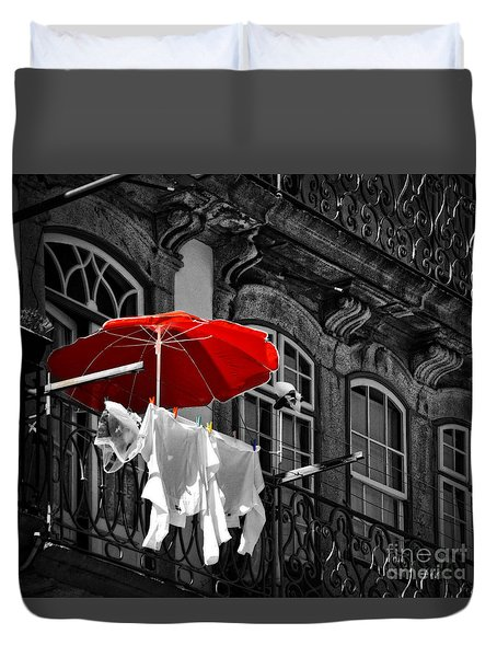 Laundry With Red Umbrella In Porto - Portugal Duvet Cover