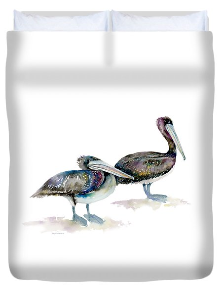 Laurel And Hardy, Brown Pelicans Duvet Cover by Amy Kirkpatrick