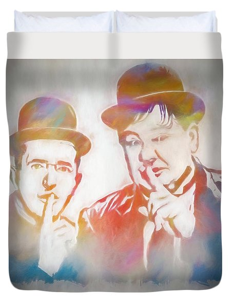 Laurel And Hardy Duvet Cover by Dan Sproul