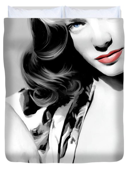 Lauren Bacall Large Size Portrait 2 Duvet Cover