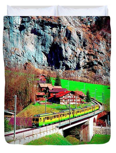 Lauterbrunnen Electric Train Duvet Cover