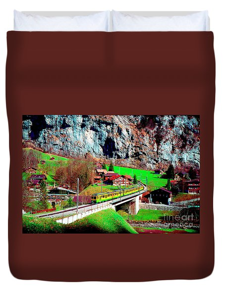 Lauterbrunnen Electric Train Duvet Cover