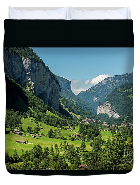 Duvet Cover featuring the photograph Lauterbrunnen Mountain Valley - Swiss Alps - Switzerland by Gary Whitton