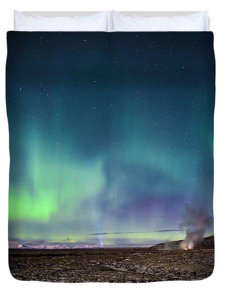 Lava And Light - Aurora Over Iceland Duvet Cover