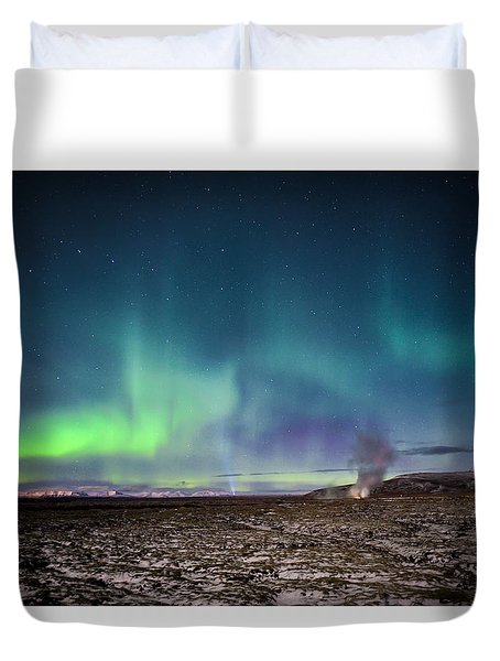 Lava And Light - Aurora Over Iceland Duvet Cover