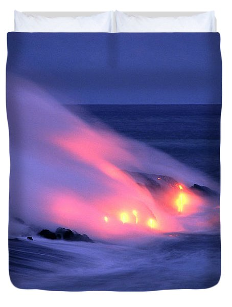 Lava And Pink Smoke Duvet Cover by William Waterfall - Printscapes