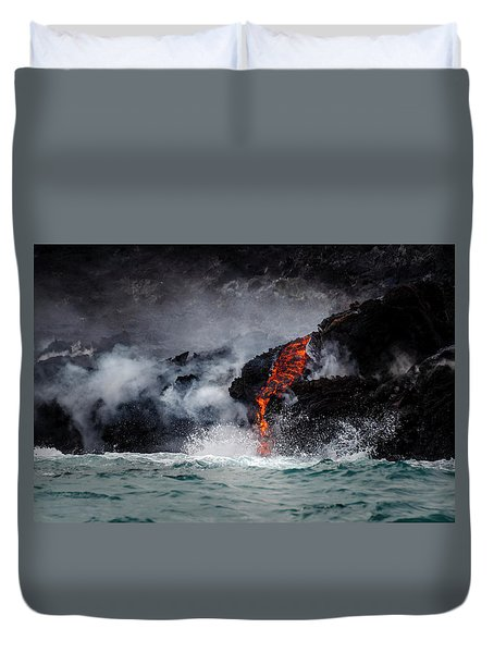 Lava Dripping Into The Ocean Duvet Cover