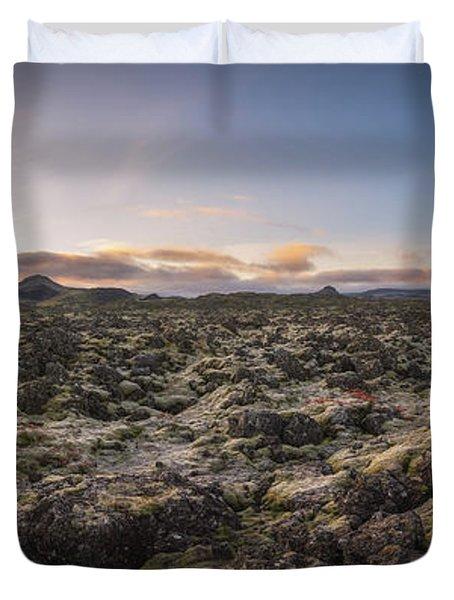 Lava Field Panorama Sunrise Duvet Cover