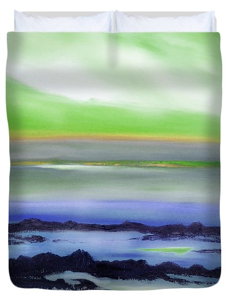 Lava Rock Abstract Sunset In Blue And Green Duvet Cover