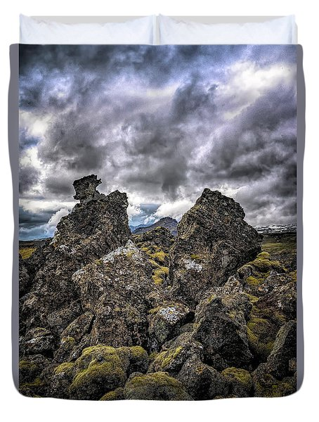 Lava Rock And Clouds Duvet Cover
