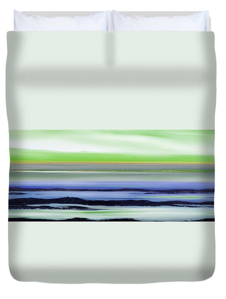 Lava Rock Panoramic Sunset In Green And Blue Duvet Cover