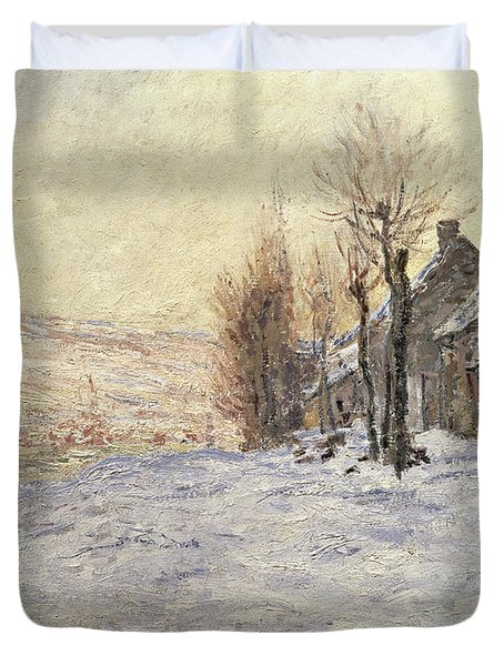 Lavacourt Under Snow Duvet Cover by Claude Monet
