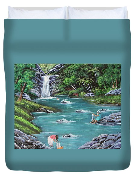 Lavando Ropa    Washing Clothes Duvet Cover