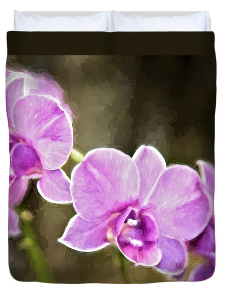 Duvet Cover featuring the photograph Lavendar Orchids by Lana Trussell