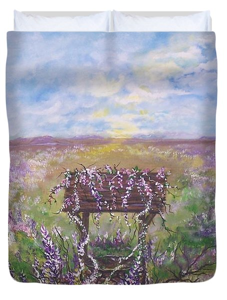 Duvet Cover featuring the painting Lavendar Wishes by Leslie Allen