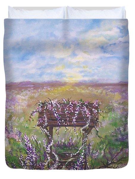 Lavendar Wishes Duvet Cover by Leslie Allen