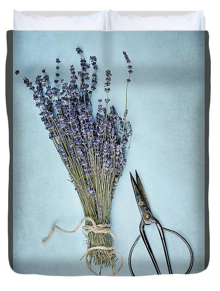 Duvet Cover featuring the photograph Lavender And Antique Scissors by Stephanie Frey