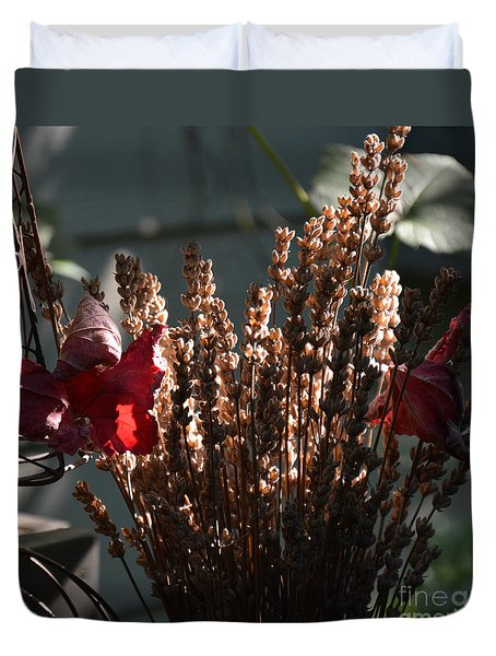 Lavender And Grape Leaves Illuminated By The Fall Sun Duvet Cover