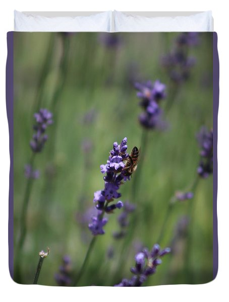 Lavender And Honey Bee Duvet Cover
