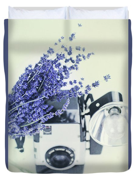 Lavender And Kodak Brownie Camera Duvet Cover