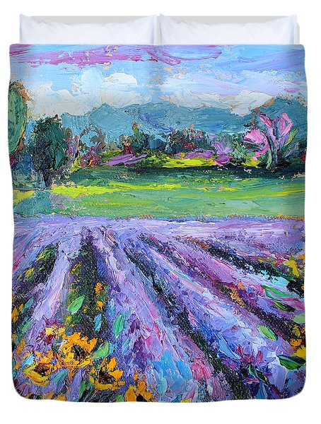 Lavender And Sunflowers In Bloom Duvet Cover