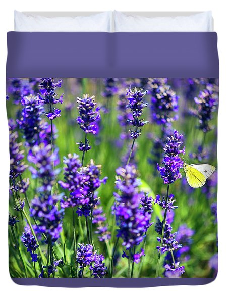 Duvet Cover featuring the photograph Lavender And The Heart by Ryan Manuel