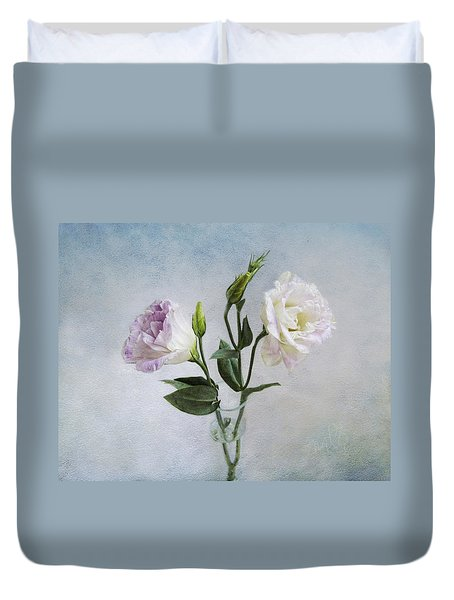 Lavender And White Anemones Still Life Duvet Cover by Louise Kumpf