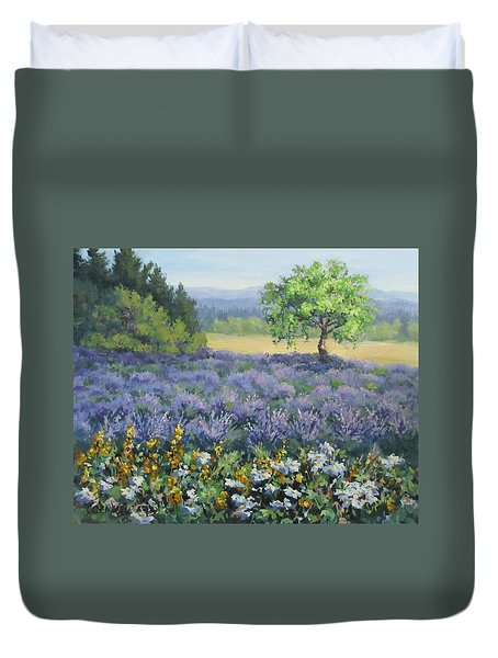 Lavender And Wildflowers Duvet Cover by Karen Ilari