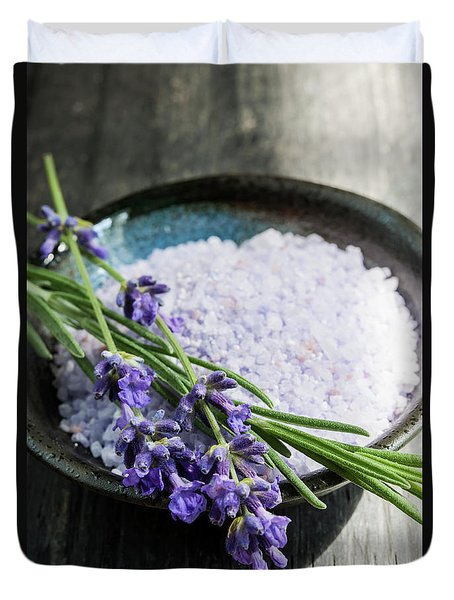 Duvet Cover featuring the photograph Lavender Bath Salts In Dish by Elena Elisseeva