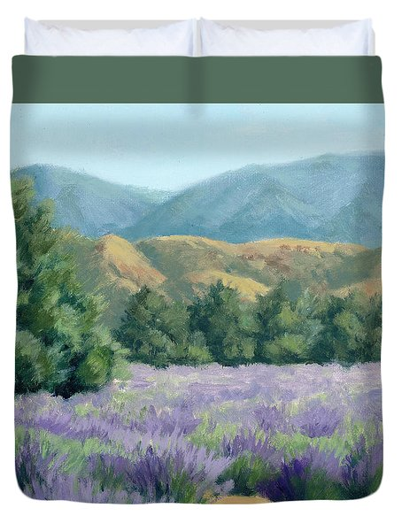 Duvet Cover featuring the painting Lavender, Blue And Gold by Sandy Fisher