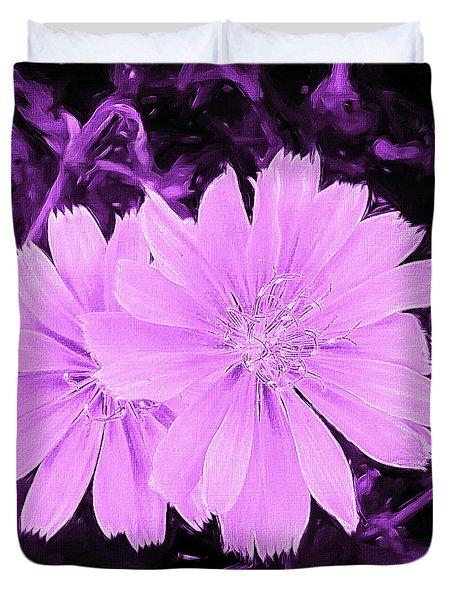 Blue Daisy Twins Lavender Duvet Cover