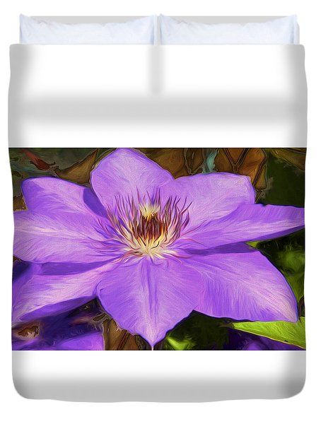 Duvet Cover featuring the photograph Lavender Clematis Art by Susan Crossman Buscho