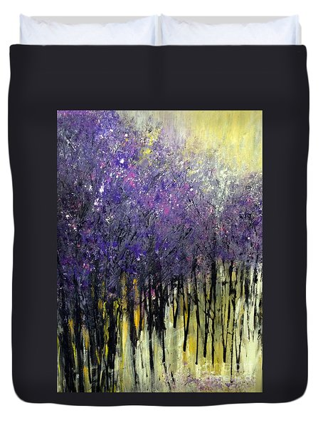 Duvet Cover featuring the painting Lavender Dreams by Priti Lathia