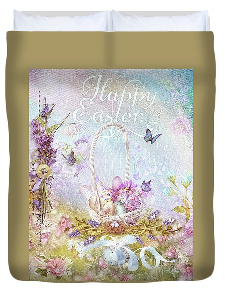 Duvet Cover featuring the mixed media Lavender Easter by Mo T