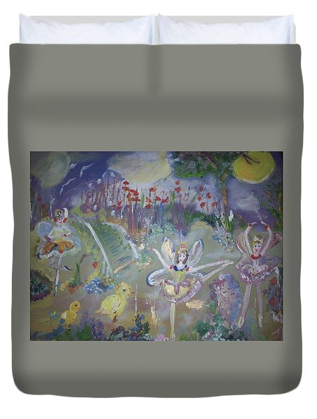 Duvet Cover featuring the painting Lavender Fairies by Judith Desrosiers