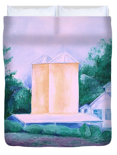 Duvet Cover featuring the painting Lavender Farm Albuquerque by Eric  Schiabor