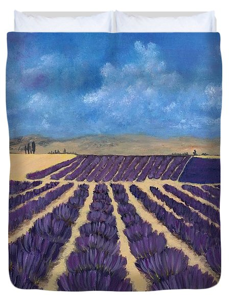 Duvet Cover featuring the painting Lavender Field by Anastasiya Malakhova