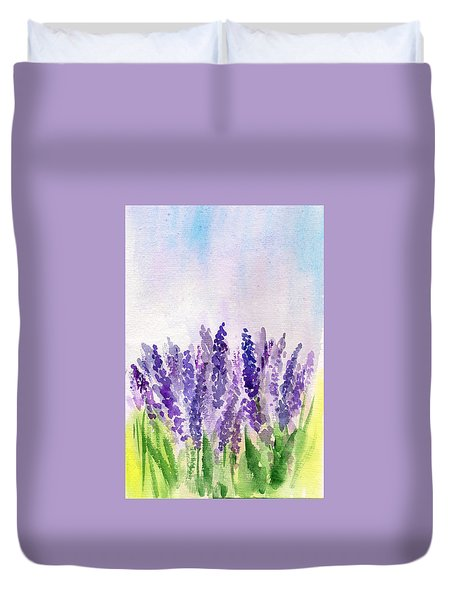 Duvet Cover featuring the painting Lavender Field by Asha Sudhaker Shenoy