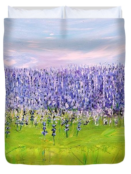 Duvet Cover featuring the painting Lavender Field by Evelina Popilian
