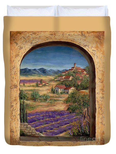 Lavender Fields And Village Of Provence Duvet Cover